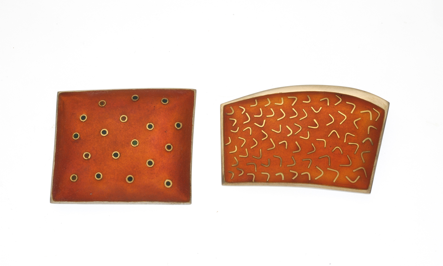 Coral Cod Brooches, 925 Silver, 750 gold, cloisonne enamel.